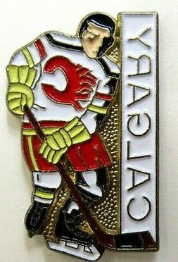 1980's CALGARY FLAMES Hockey PLAYER figural tie tack lapel p