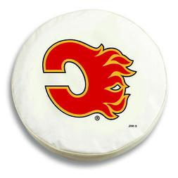 Calgary Flames HBS White Vinyl Fitted Spare Car Tire Cover