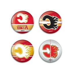 """Calgary Flames Wincraft NHL Button Pins 4 Pack 1-1/4"""" Round"""