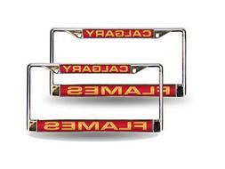 Calgary Flames NHL Chrome Metal  Laser Cut License Plate Fra