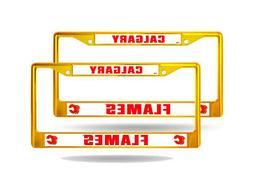 Calgary Flames NHL Gold Yellow Painted Chrome Metal  License