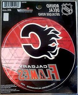"Calgary Flames PV Rico 4"" Round Flat Vinyl Decal Bumper Stic"