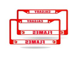 Calgary Flames Red Painted Chrome Metal  License Plate Frame