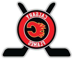 Calgary Flames Sticks Logo NHL Sport Car Bumper Sticker Deca