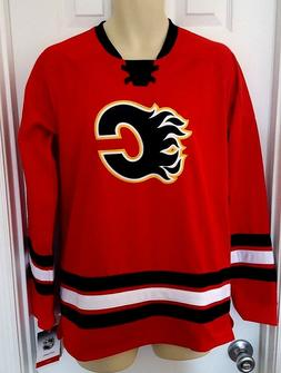 CALGARY FLAMES Youth Jersey Size XL 18/20 Stitched Crest and