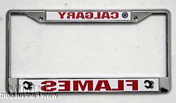 Calgary Flames Metal Chrome License Plate Tag Frame Cover NH